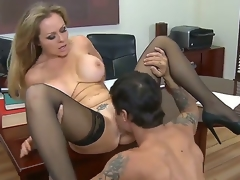 Dyanna Lauren is a perfect and first sex teacher for her student named Alan Stafford,