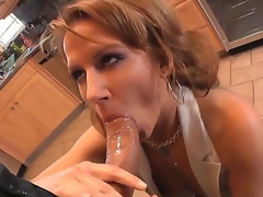 Hot mom Inari Vachs decides to show her recent boyfriend that maturity and experience is a lot better that amateur, doing a nice old-fashioned blowjob for Roman Nomar in the kitchen