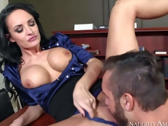One of a kind milf Alektra Blue with big round firm hooters and lengthy legs in hawt outfit seduces young fucker Daniel Hunter and receives wet minge licked to orgasm