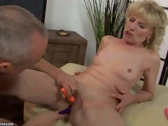 Naked mature blonde Margarette spreads her legs wide and receives her fur pie stimulated with the help of several vibrators. This babe receives squirting big O after unthinkable fur pie stimulation