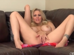Milf Julia Ann disrobes nude and sensually masturbates