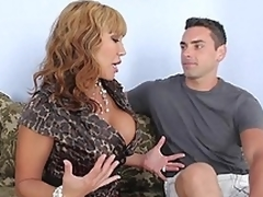 Busty mommy giving head to her son's friend