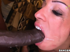Monica Santhiago opens her oiled up booty and takes huge black cock in her twat