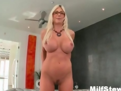 Sexy blonde milf gone crazy showing her boobs